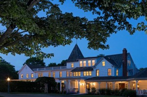 A view of the inn at dusk